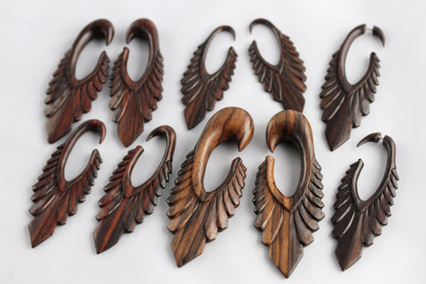 Long Feather Carved Wood Hangers (Pair) - D039