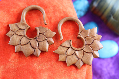 Stretched Ear wooden plug hangers (Pair) - A060