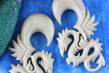 White Serpent Dragon Plugs - Wood Hanging Dragon Plugs (Pair) - E005