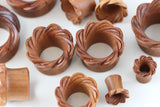 Petal Wheel Tunnel Plugs - Carved Wooden Tunnel (Pair) - PA80