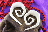 Carved Crocodile Wood Stretched Ear Spirals (Pair) - E007