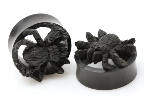 Black Spider Wooden Plugs - (Pair) - PA119