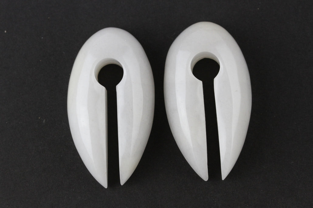 White Jade Stone Keyhole Ear Weights (Pair) - H011