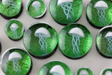 Green JellyFish Glass Plugs (8mm - 16mm) (Pair) - G016