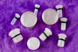 Single Flare Rose Quartz Plugs for stretched ears (Pair) - PB61