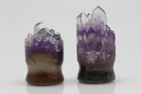 Raw Amethyst Plugs (Pair) - 16mm as pictured - XA071-16