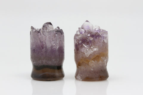 Raw Amethyst Plugs (Pair) - 16mm as pictured - XA072-16