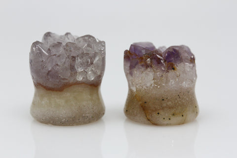 Raw Amethyst Plugs (Pair) - 14mm as pictured - XA067-14