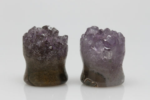 Raw Amethyst Plugs (Pair) - 14mm as pictured - XA070-14