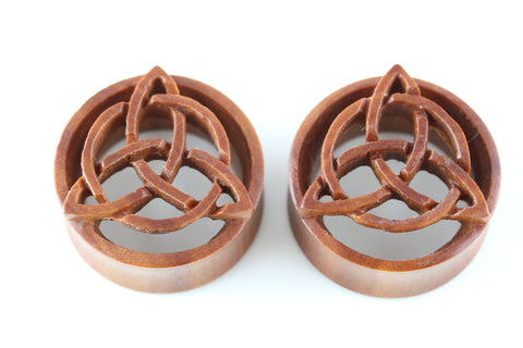 Triquetra wood plugs - Trinity Knot wood plugs (Pair) - PA81
