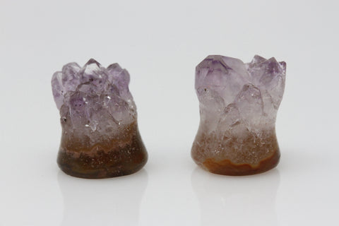 Raw Amethyst Plugs (Pair) - 10mm as pictured - XA017-10