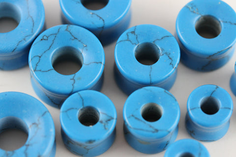 Blue Howlite Tunnels for Stretched Ears (Pair) - PB65