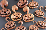 Carved Wood Pumpkin Hangers - Hand Carved Plugs (Pair) - A071