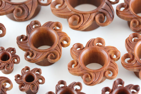 Wood Twisting Sol Tunnels - Hand Carved Wooden Tunnel (Pair) - PA82