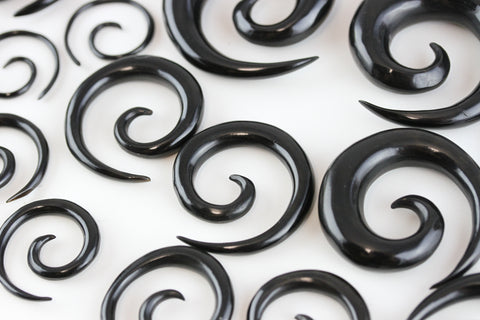 Horn Spirals for Stretched Ears - Hand Carved (Pair) - B048