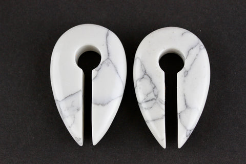White Howlite Stone Keyhole Ear Weights (Pair) - H010