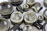 Golden Obsidian Concave Plugs for stretched ears (Pair) - PH16
