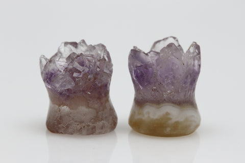 Raw Amethyst Plugs (Pair) - 10mm as pictured - XA002-10