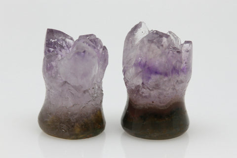 Raw Amethyst Plugs (Pair) - 10mm as pictured - XA009-10