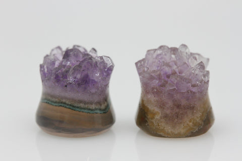 Raw Amethyst Plugs (Pair) - 10mm as pictured - XA024-10