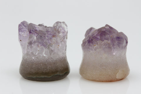 Raw Amethyst Plugs (Pair) - 12mm as pictured - XA031-12