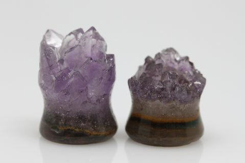 Raw Amethyst Plugs (Pair) - 12mm as pictured - XA048-12