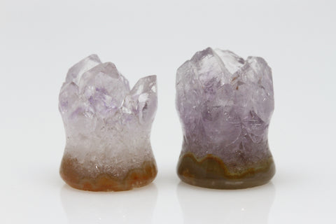 Raw Amethyst Plugs (Pair) - 12mm as pictured - XA050-12