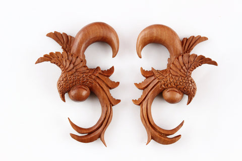 Stretch Ear Hangers Wood Birds of Feather