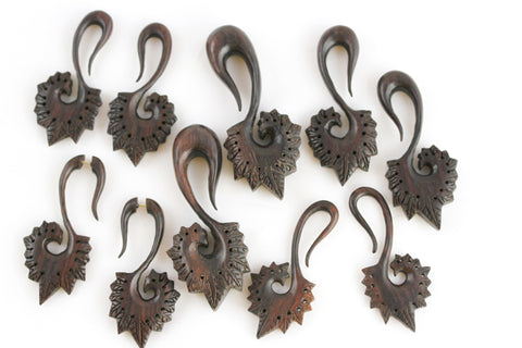 Carved Wood Hangers for Stretched Ears (Pair) - D004
