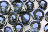 Blue JellyFish Glass Glow in the Dark Plugs (8mm - 16mm) (Pair) - G019