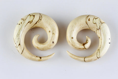 Carved Wooden Ear Spirals - Tamarind Wood Spirals (Pair) - J003