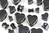 Black Heart Shaped Plugs - Onyx heart plugs (Pair) - PH28