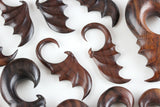 Bats Wings Hanging Plugs - Carved Wood Bat Wings - (Pair) - D045