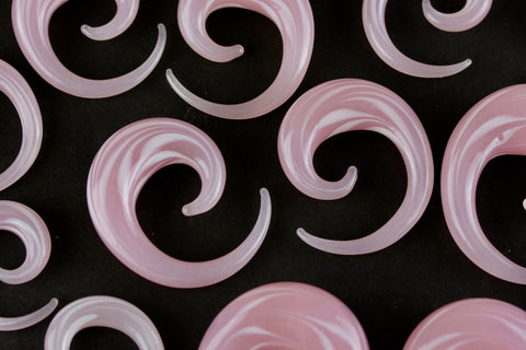Cotton Candy Pink Glass Spirals (Pair) - H028