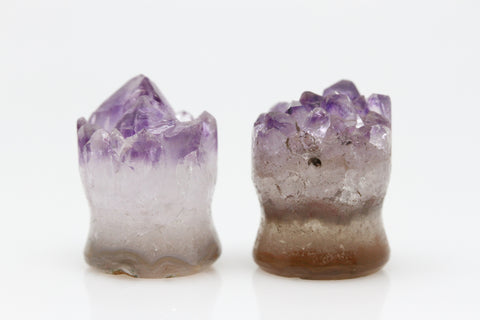 Raw Amethyst Plugs (Pair) - 14mm as pictured - XA057-14