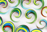 Rainbow Glass Spirals (Pair) - H027
