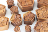 Wooden Pentagon Flower Plugs - Hand Carved - (Pair) - PA85