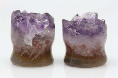 Raw Amethyst Plugs (Pair) - 16mm as pictured - XA093-16