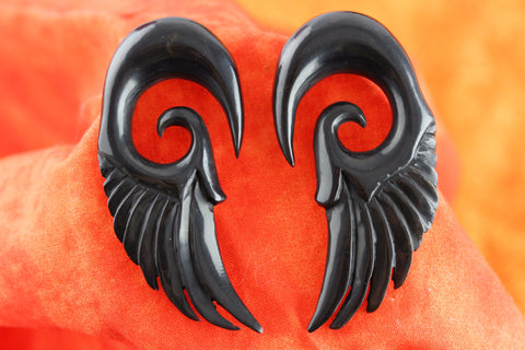 Black Feather Gauged Earrings