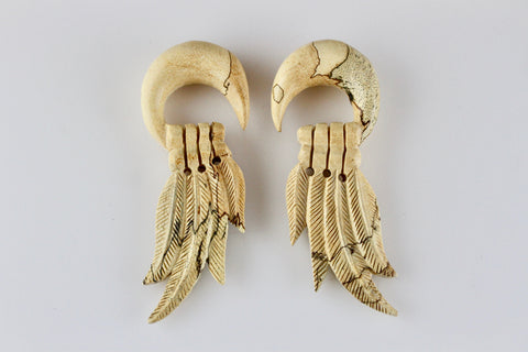 4 Feather Tamarind Wood Stretched Plug Gauge Earrings (Pair) - J007