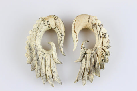 Tamarind Wing Plug Hangers - Hand Carved Wood Wings (Pair) - J005