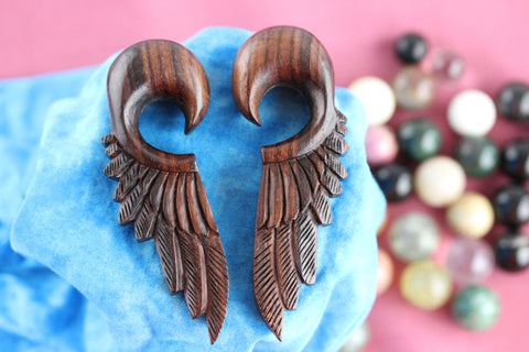 Wood Feather Ear Stretchers