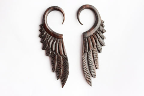 Wood Feather Ear Stretchers (Pair) - D002