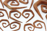 Carved Sawo Wood Stretched Ear Spirals (Pair) - A074