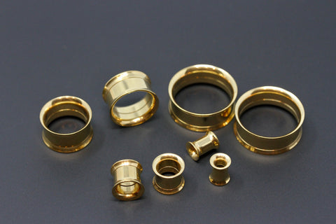 Gold Colored Stainless Steel Tunnels - Screw on Tunnel (Pair) - PSS02