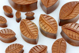 Wood Leaf Oval Plugs - Hand Carved - (Pair) - PA86
