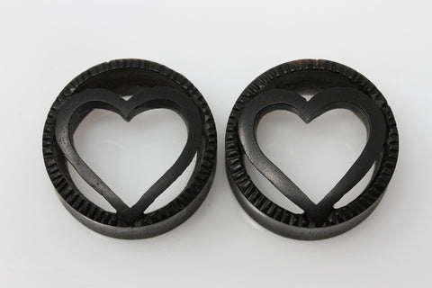 Carved Wood Heart Tunnels (Pair) - PA116