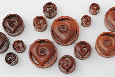 Wooden Heart Spiral Tunnel Plugs (Pair) - PA117