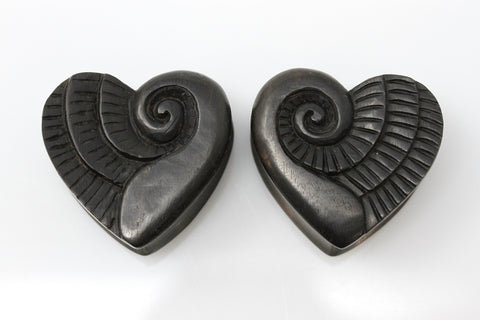 Sprouting Heart Wood Plugs (Pair) - PA124