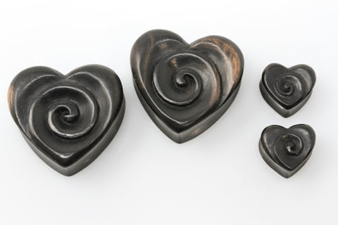 Wooden Heart Swirl Plugs (Pair) - PA120